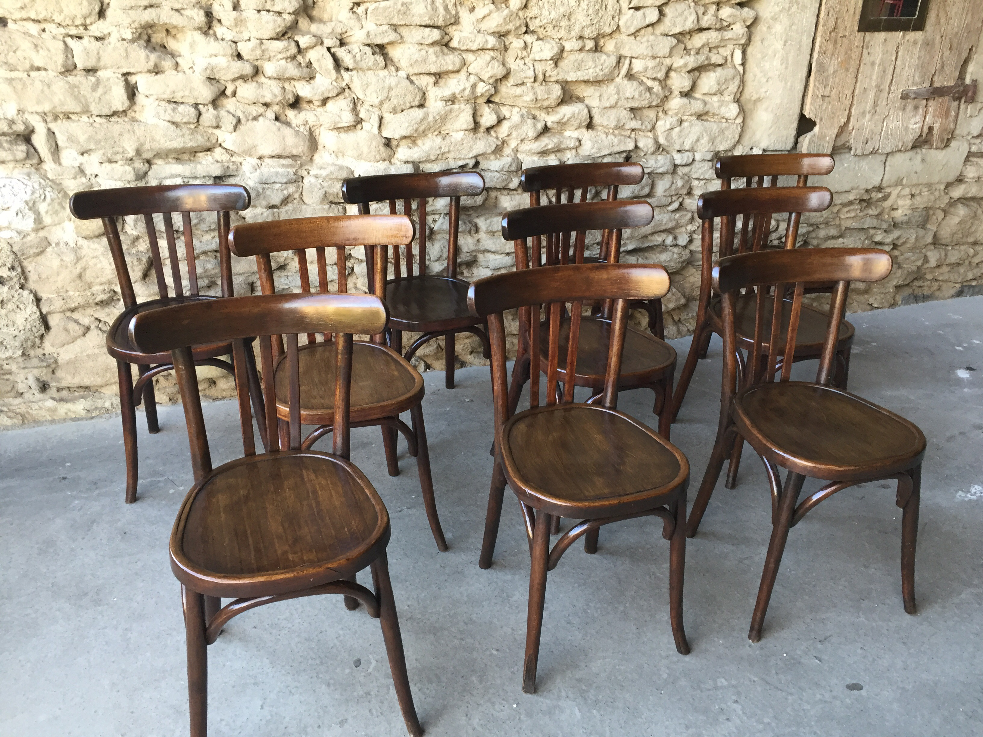 Lot de 10 chaises bistrot baumann couleur brocante for Chaise bistrot but