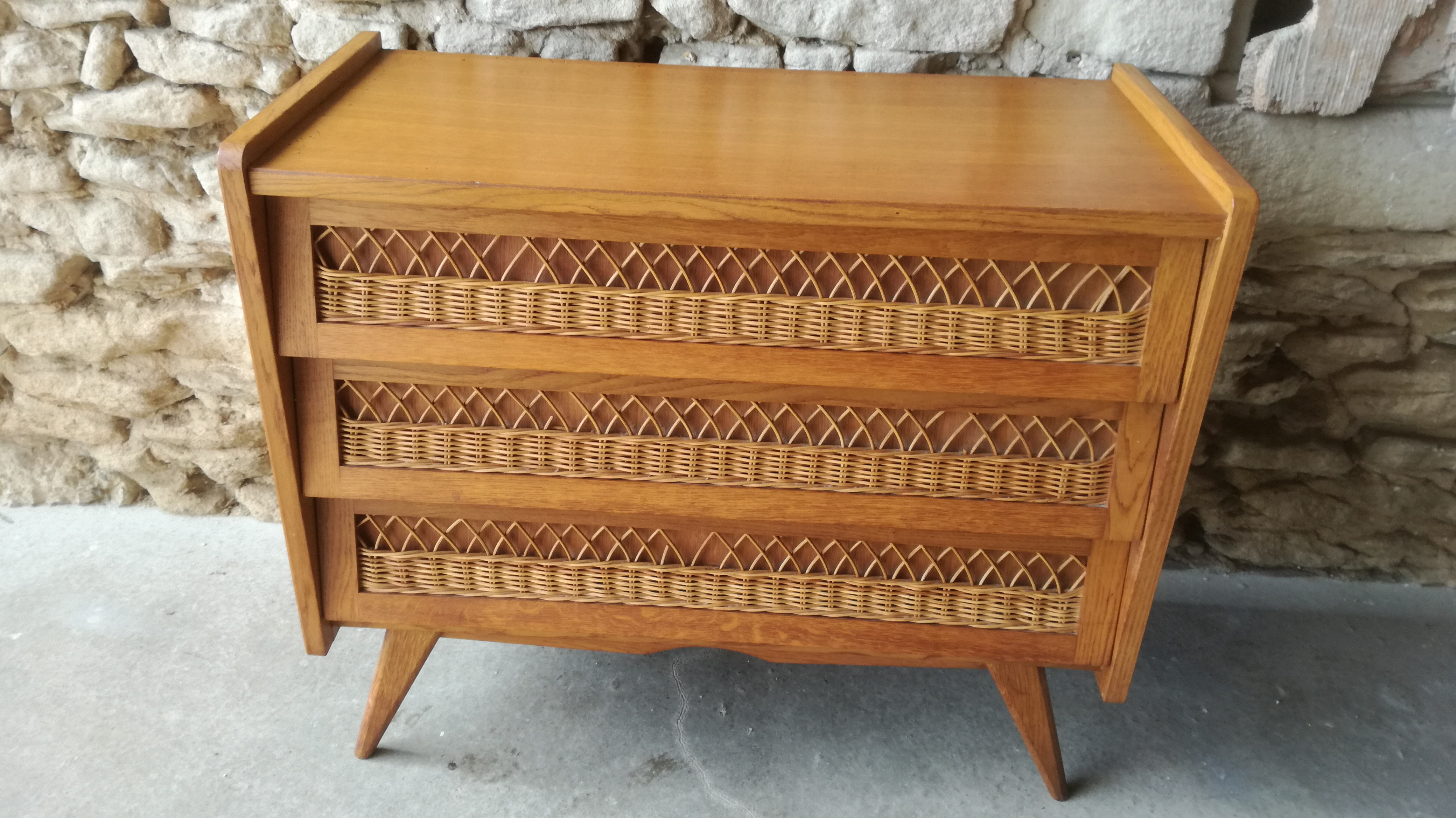 Commode Rotin Vintage Couleur Brocante
