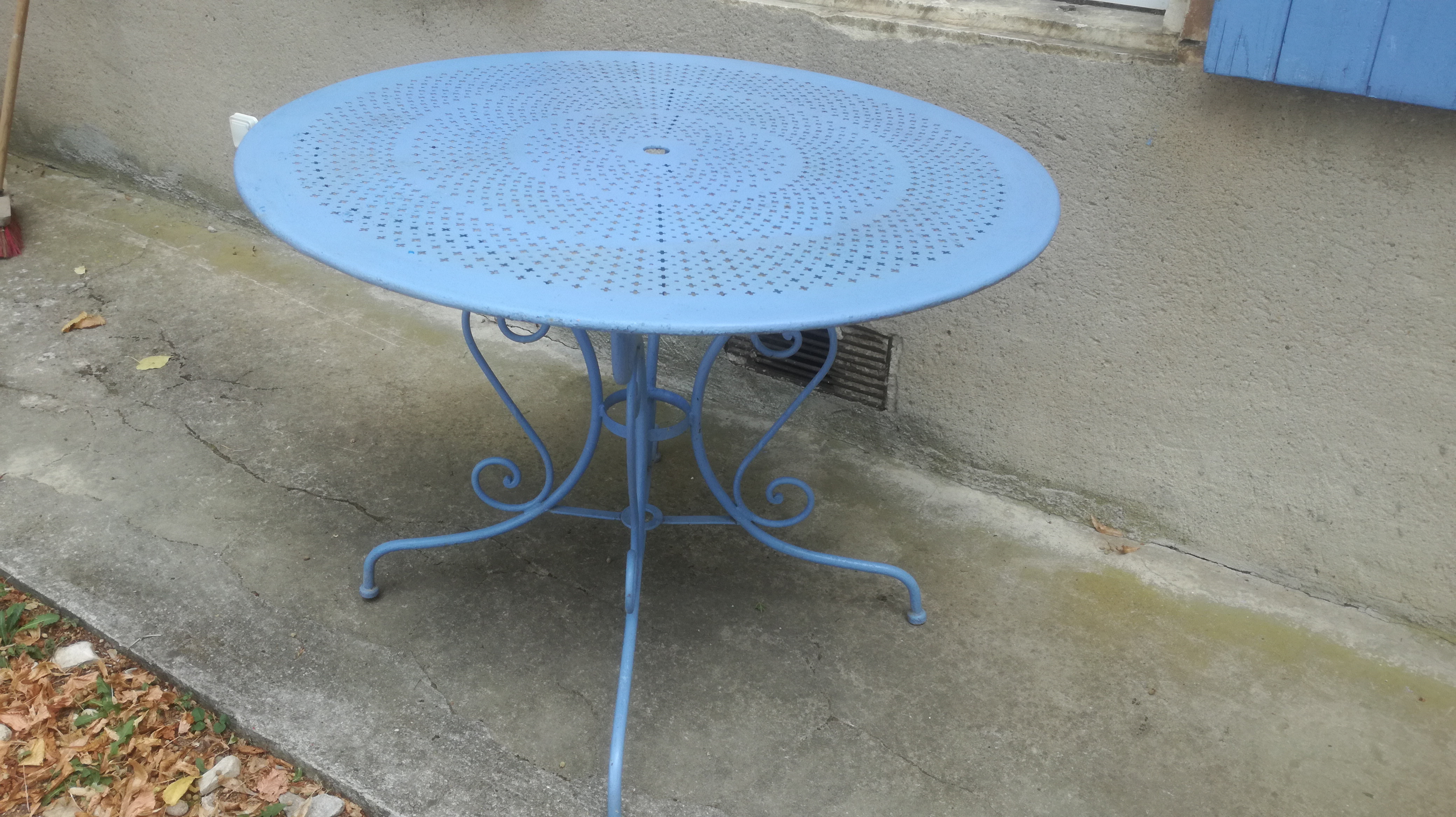 Ancienne Table Jardin Fer Forge Couleur Brocante